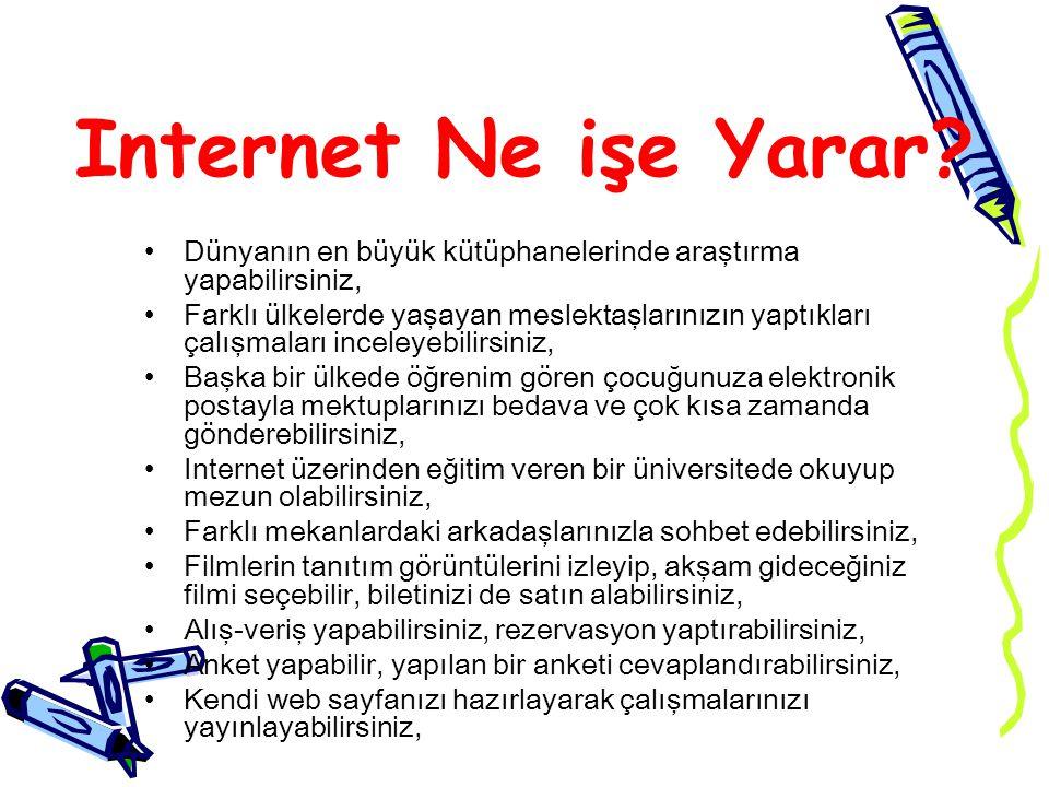 Internet Ne işe Yarar? Dünyanın en büyük kütüphanelerinde araştırma yapabilirsiniz, Farklı ülkelerde yaşayan meslektaşlarınızın yaptıkları çalışmaları