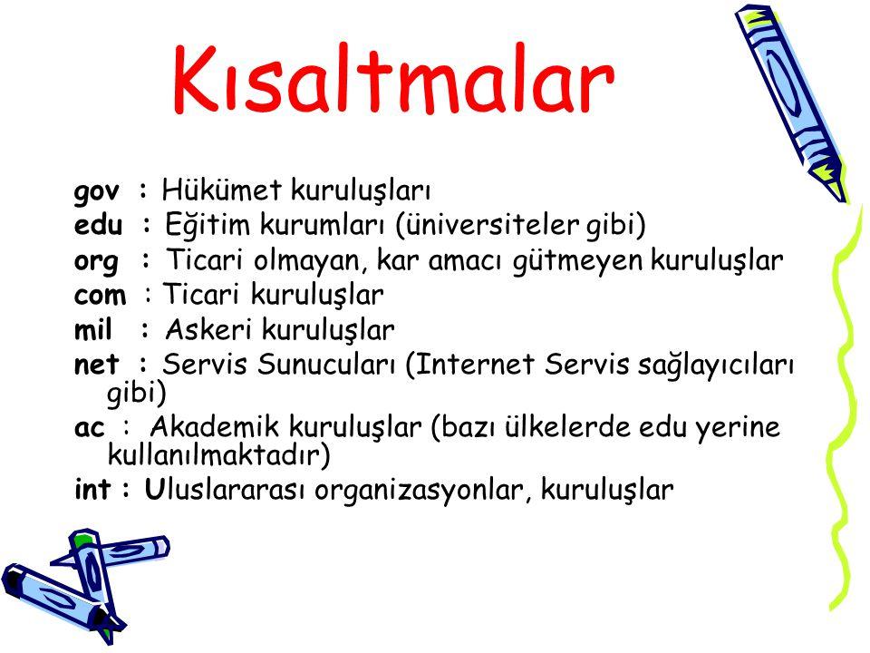 Örneğin; http://www.egitim.com http kısmı kullandığınız gözatıcının web sayfalarına ulaşım protokolünü kullandığı anlamına gelir.