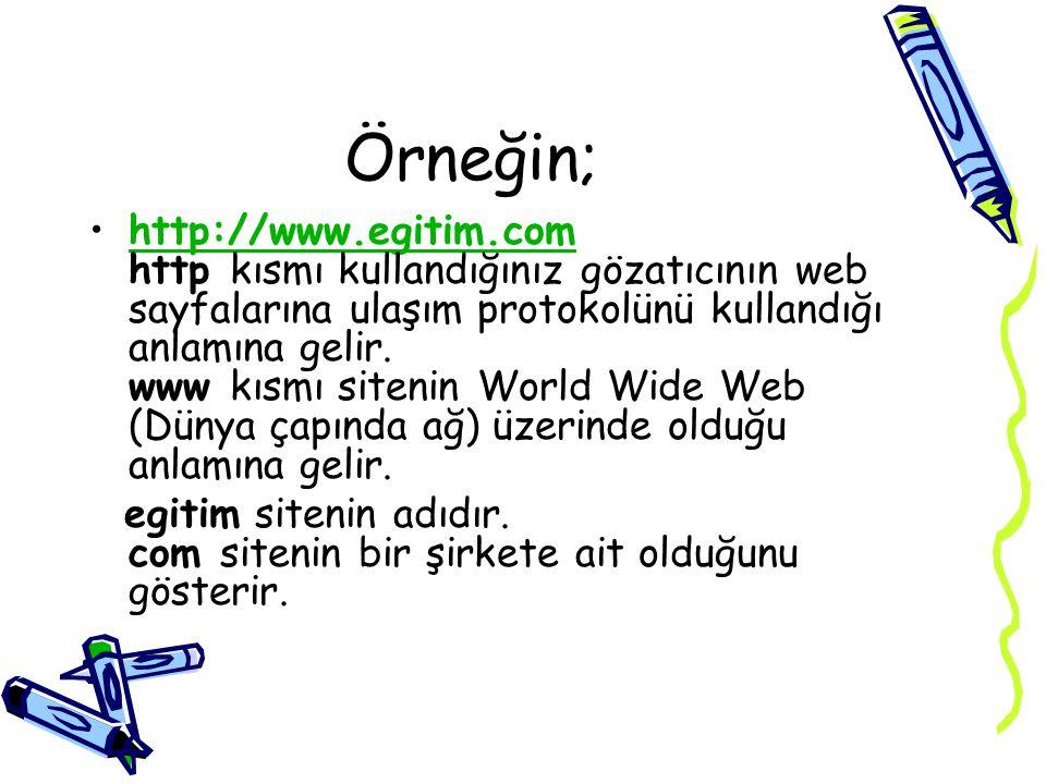 Örneğin; http://www.meb.gov.tr Milli Eğitim Bakanlığı nın sayfası Adresinin sonundaki .tr ülke ekidir.