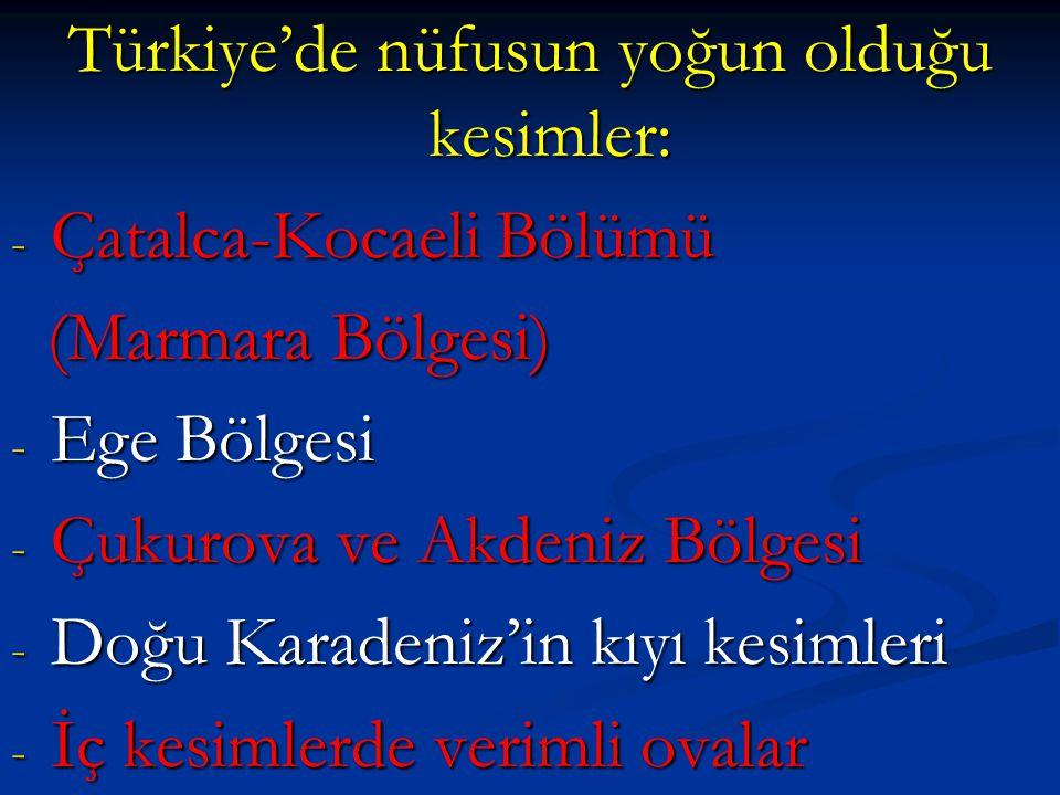 Türkiye'de nüfusun yoğun olduğu kesimler: - Çatalca-Kocaeli Bölümü (Marmara Bölgesi) (Marmara Bölgesi) - Ege Bölgesi - Çukurova ve Akdeniz Bölgesi - Doğu Karadeniz'in kıyı kesimleri - İç kesimlerde verimli ovalar