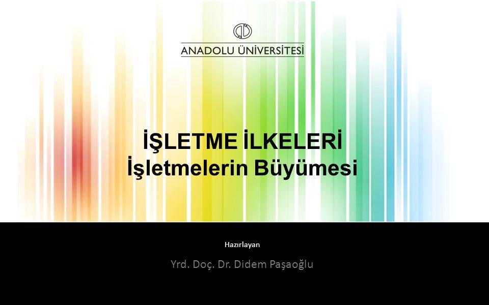 Hazırlayan İŞLETME İLKELERİ İşletmelerin Büyümesi Yrd. Doç. Dr. Didem Paşaoğlu