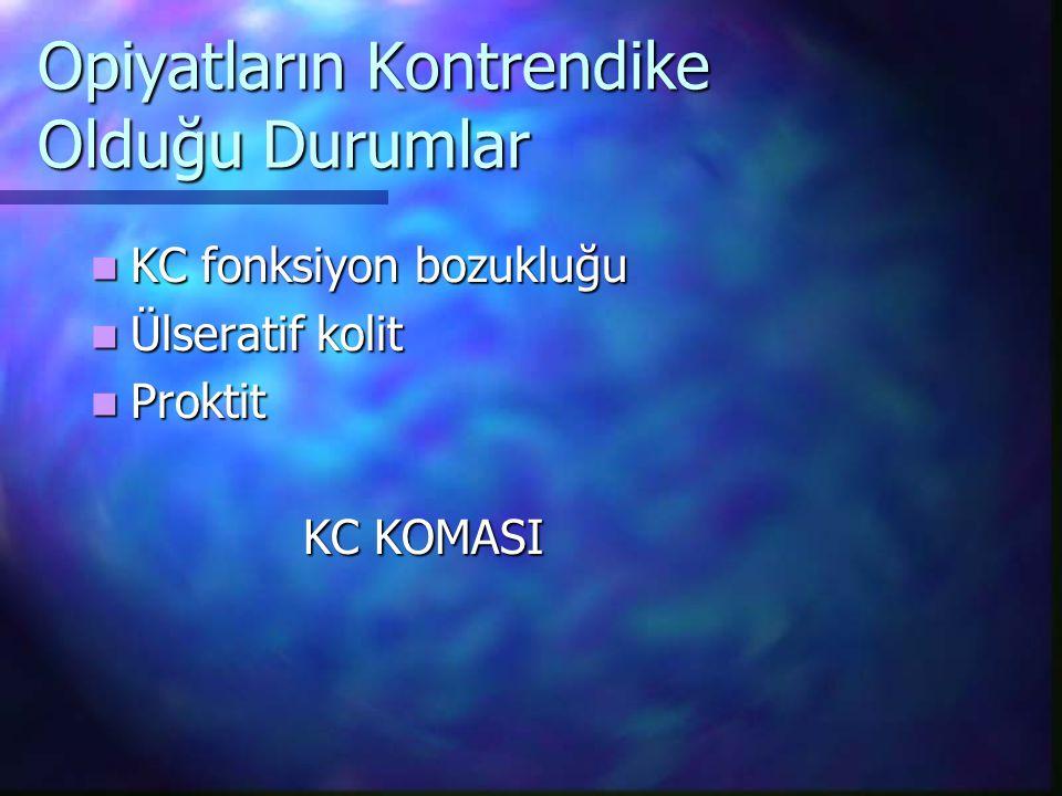 Opiyatların Kontrendike Olduğu Durumlar KC fonksiyon bozukluğu KC fonksiyon bozukluğu Ülseratif kolit Ülseratif kolit Proktit Proktit KC KOMASI