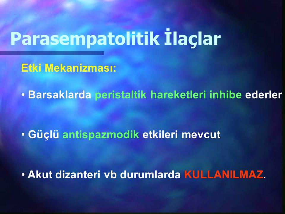 Parasempatolitik İlaçlar Etki Mekanizması: Barsaklarda peristaltik hareketleri inhibe ederler Güçlü antispazmodik etkileri mevcut Akut dizanteri vb du