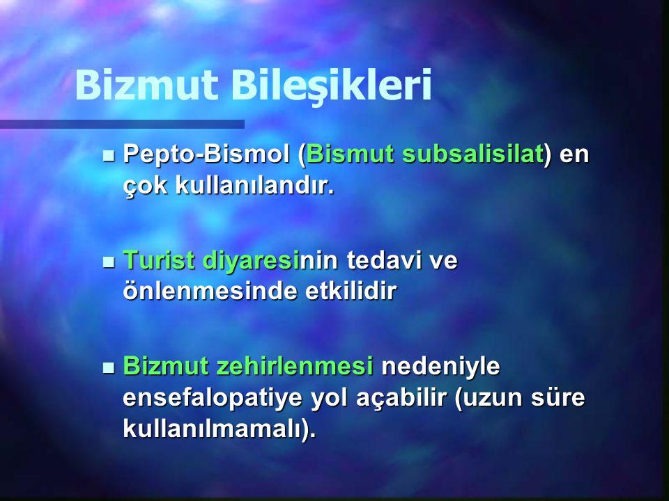 Bizmut Bileşikleri Pepto-Bismol (Bismut subsalisilat) en çok kullanılandır. Pepto-Bismol (Bismut subsalisilat) en çok kullanılandır. Turist diyaresini