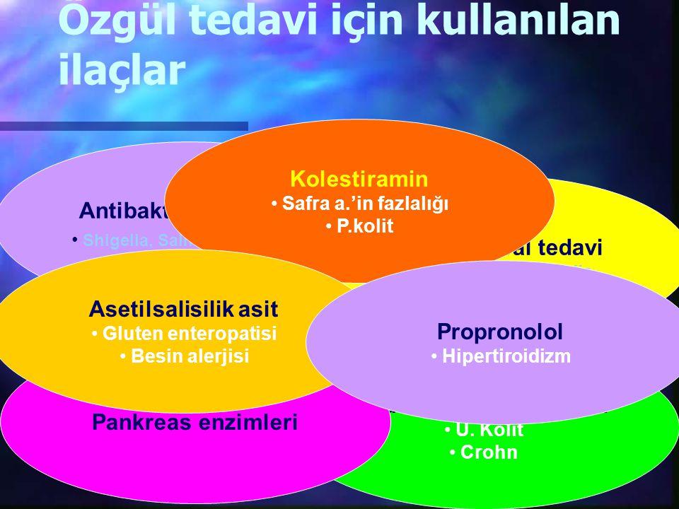Özgül tedavi için kullanılan ilaçlar Antibakteriyel tedavi Shigella, Salmonella, E.coli Antiprotozoal tedavi E. Histolytica, Giardia Glukokortikoid te
