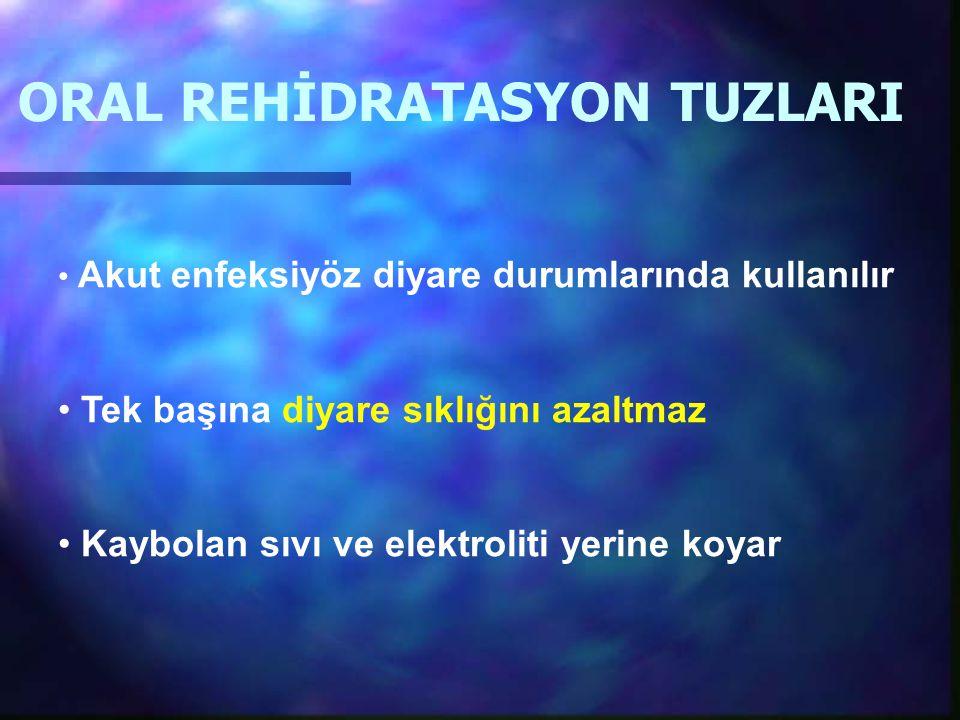 ORAL REHİDRATASYON TUZLARI Akut enfeksiyöz diyare durumlarında kullanılır Tek başına diyare sıklığını azaltmaz Kaybolan sıvı ve elektroliti yerine koy