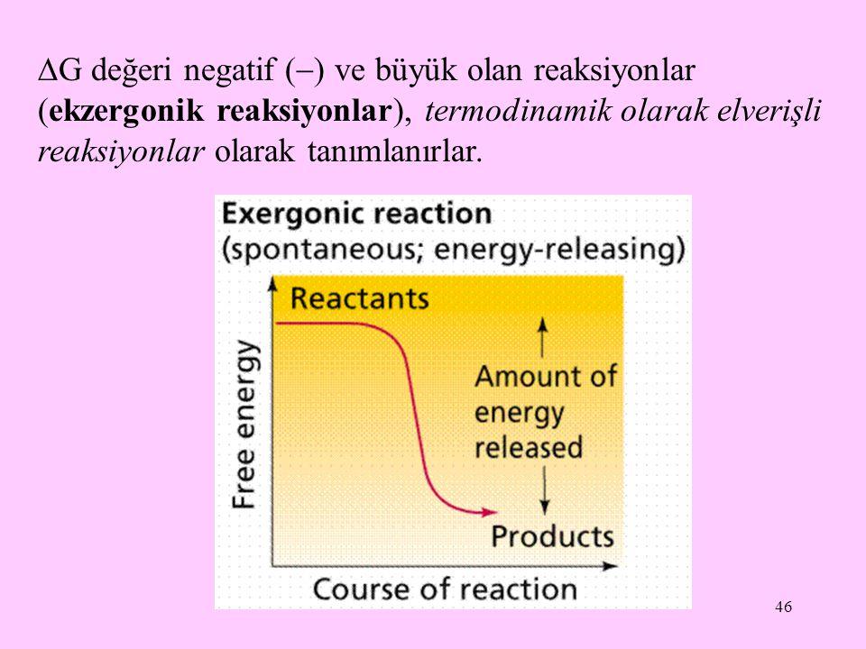 46  G değeri negatif (  ) ve büyük olan reaksiyonlar (ekzergonik reaksiyonlar), termodinamik olarak elverişli reaksiyonlar olarak tanımlanırlar.