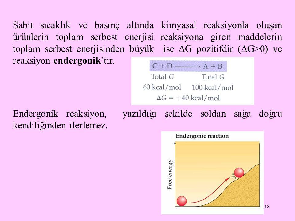 48 Sabit sıcaklık ve basınç altında kimyasal reaksiyonla oluşan ürünlerin toplam serbest enerjisi reaksiyona giren maddelerin toplam serbest enerjisin