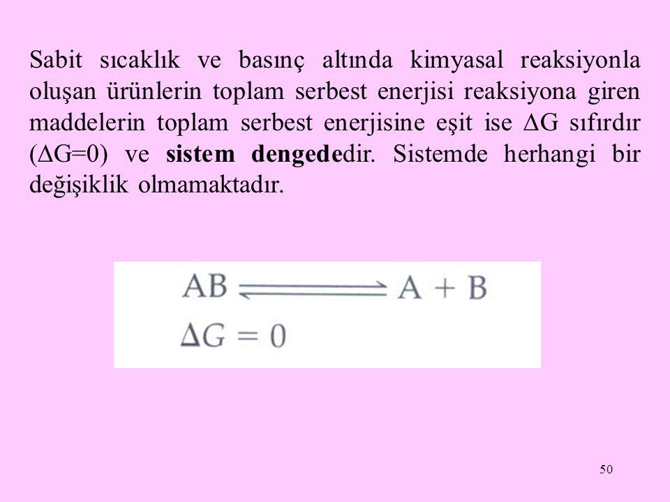 50 Sabit sıcaklık ve basınç altında kimyasal reaksiyonla oluşan ürünlerin toplam serbest enerjisi reaksiyona giren maddelerin toplam serbest enerjisin