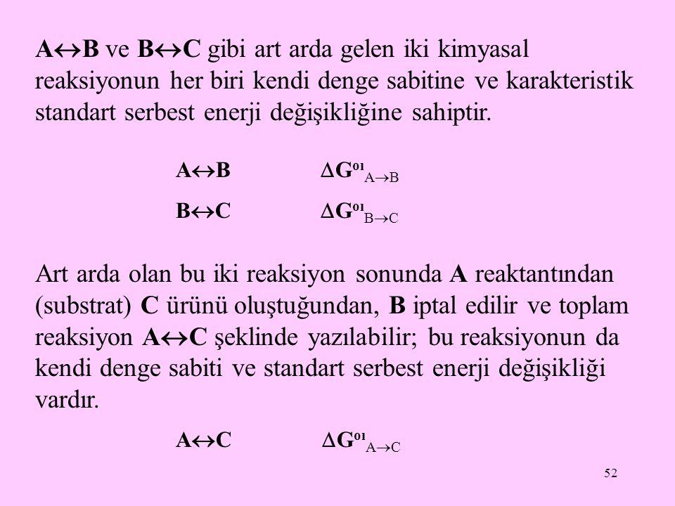 52 A  B ve B  C gibi art arda gelen iki kimyasal reaksiyonun her biri kendi denge sabitine ve karakteristik standart serbest enerji değişikliğine sa