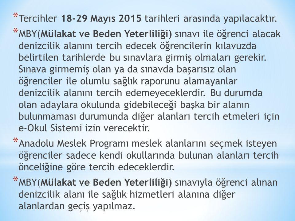 * Tercihler 18-29 Mayıs 2015 tarihleri arasında yapılacaktır.