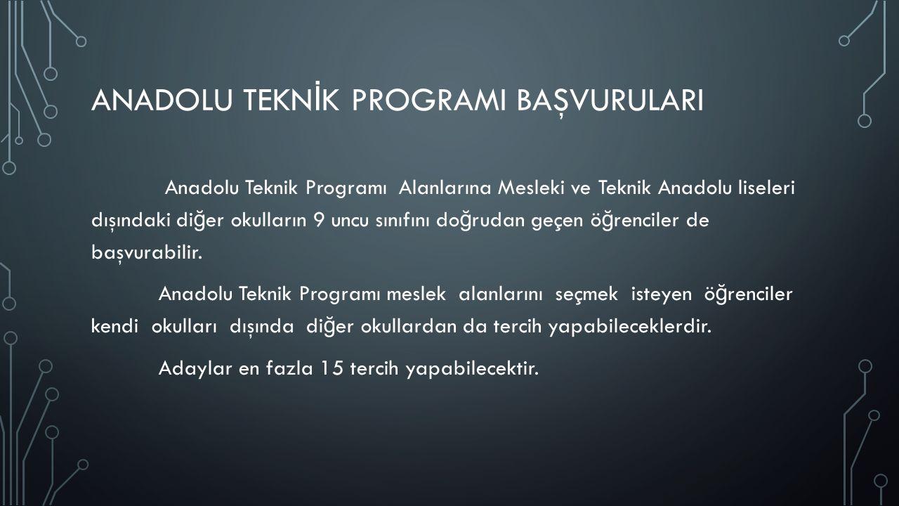 ANADOLU MESLEK PROGRAMI BAŞVURULARI Anadolu Meslek Programlarında Alana yerleştirme işlemi; Alana yerleştirme puanı ile puan üstünlü ğ üne ve tercih sırasına göre yapılır.