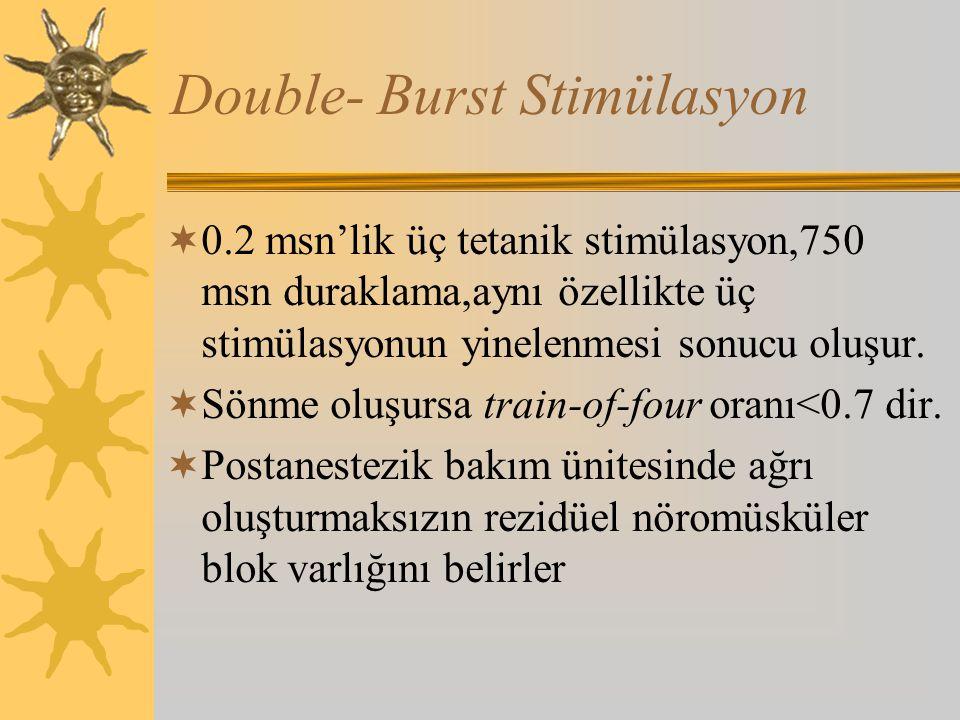 Double- Burst Stimülasyon  0.2 msn'lik üç tetanik stimülasyon,750 msn duraklama,aynı özellikte üç stimülasyonun yinelenmesi sonucu oluşur.