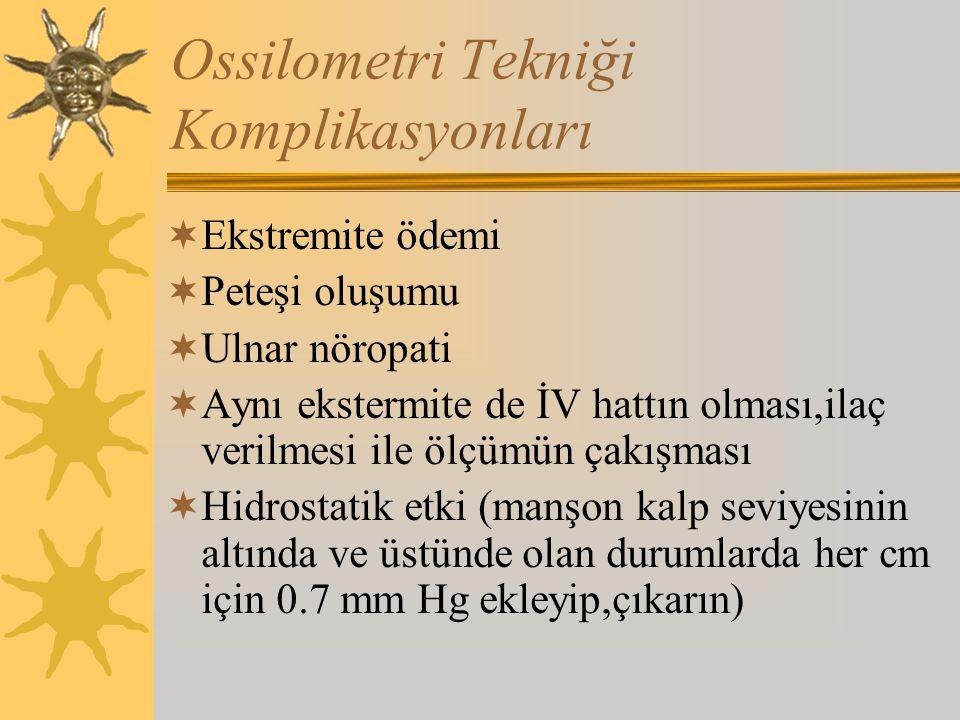 Ossilometri Tekniği Komplikasyonları  Ekstremite ödemi  Peteşi oluşumu  Ulnar nöropati  Aynı ekstermite de İV hattın olması,ilaç verilmesi ile ölçümün çakışması  Hidrostatik etki (manşon kalp seviyesinin altında ve üstünde olan durumlarda her cm için 0.7 mm Hg ekleyip,çıkarın)