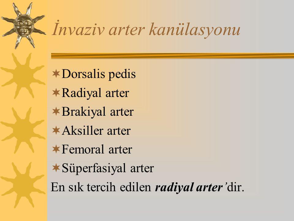 İnvaziv arter kanülasyonu  Dorsalis pedis  Radiyal arter  Brakiyal arter  Aksiller arter  Femoral arter  Süperfasiyal arter En sık tercih edilen radiyal arter'dir.