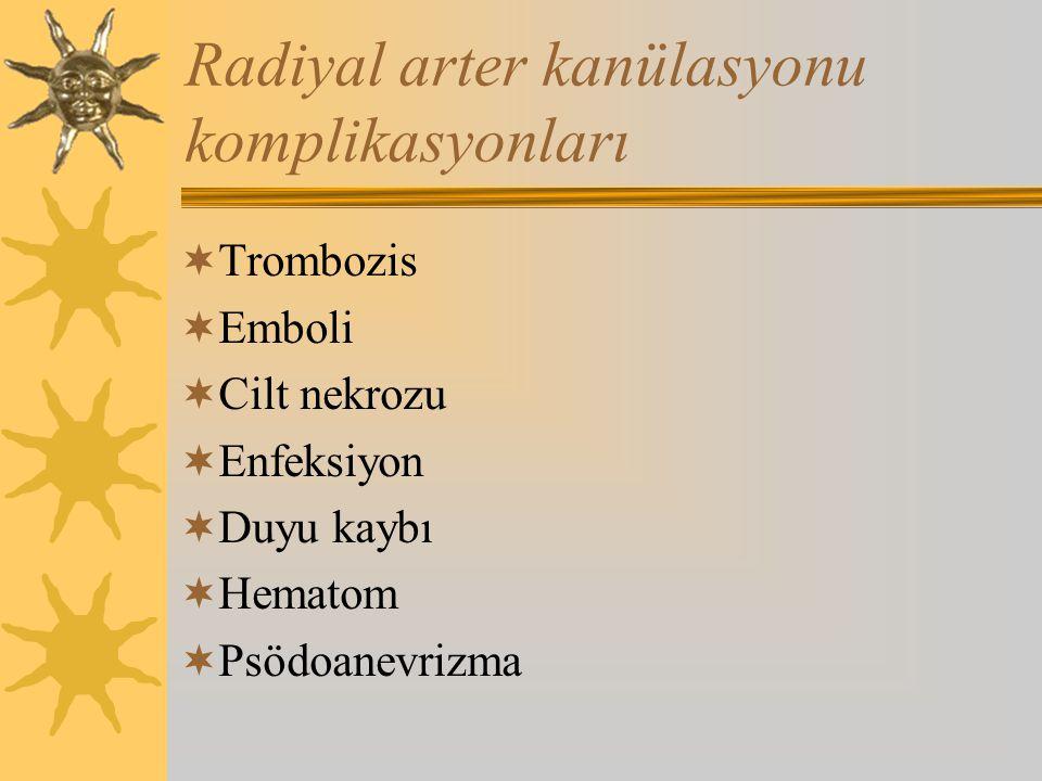 Radiyal arter kanülasyonu komplikasyonları  Trombozis  Emboli  Cilt nekrozu  Enfeksiyon  Duyu kaybı  Hematom  Psödoanevrizma
