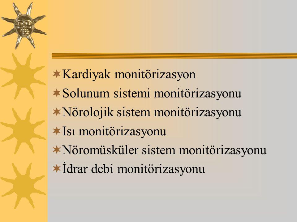 Kardiyak monitörizasyon  Solunum sistemi monitörizasyonu  Nörolojik sistem monitörizasyonu  Isı monitörizasyonu  Nöromüsküler sistem monitörizasyonu  İdrar debi monitörizasyonu