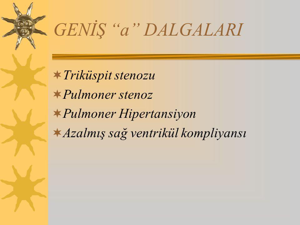 GENİŞ a DALGALARI  Triküspit stenozu  Pulmoner stenoz  Pulmoner Hipertansiyon  Azalmış sağ ventrikül kompliyansı