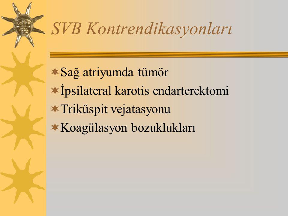 SVB Kontrendikasyonları  Sağ atriyumda tümör  İpsilateral karotis endarterektomi  Triküspit vejatasyonu  Koagülasyon bozuklukları