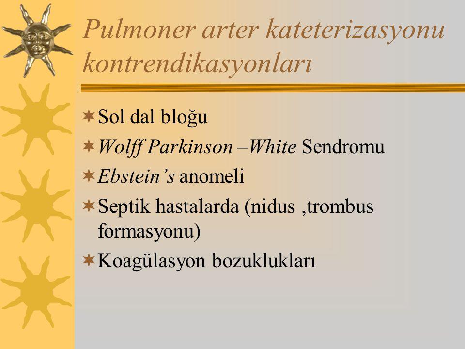 Pulmoner arter kateterizasyonu kontrendikasyonları  Sol dal bloğu  Wolff Parkinson –White Sendromu  Ebstein's anomeli  Septik hastalarda (nidus,trombus formasyonu)  Koagülasyon bozuklukları