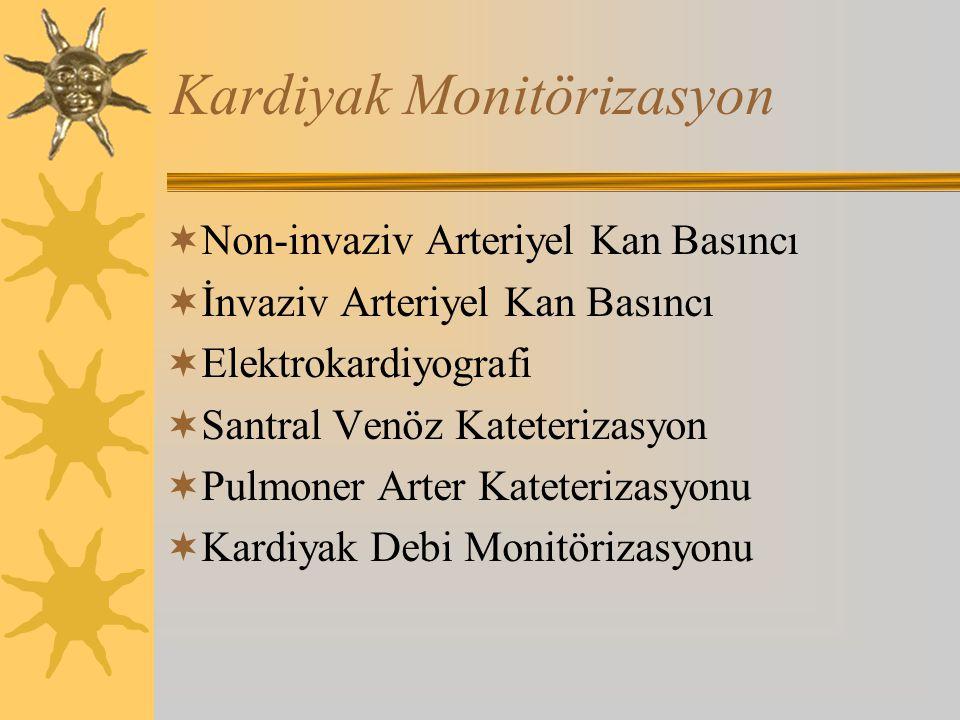 Kardiyak Monitörizasyon  Non-invaziv Arteriyel Kan Basıncı  İnvaziv Arteriyel Kan Basıncı  Elektrokardiyografi  Santral Venöz Kateterizasyon  Pulmoner Arter Kateterizasyonu  Kardiyak Debi Monitörizasyonu