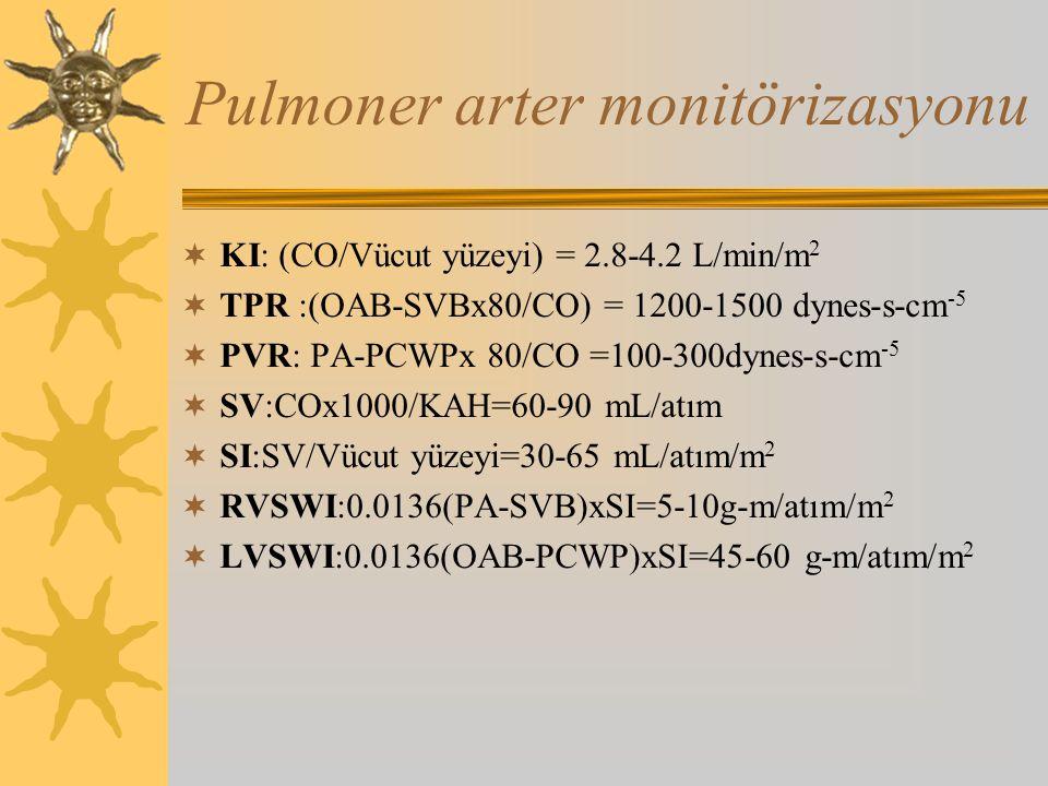 Pulmoner arter monitörizasyonu  KI: (CO/Vücut yüzeyi) = 2.8-4.2 L/min/m 2  TPR :(OAB-SVBx80/CO) = 1200-1500 dynes-s-cm -5  PVR: PA-PCWPx 80/CO =100-300dynes-s-cm -5  SV:COx1000/KAH=60-90 mL/atım  SI:SV/Vücut yüzeyi=30-65 mL/atım/m 2  RVSWI:0.0136(PA-SVB)xSI=5-10g-m/atım/m 2  LVSWI:0.0136(OAB-PCWP)xSI=45-60 g-m/atım/m 2