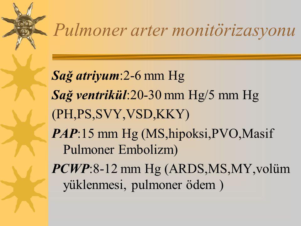 Pulmoner arter monitörizasyonu Sağ atriyum:2-6 mm Hg Sağ ventrikül:20-30 mm Hg/5 mm Hg (PH,PS,SVY,VSD,KKY) PAP:15 mm Hg (MS,hipoksi,PVO,Masif Pulmoner Embolizm) PCWP:8-12 mm Hg (ARDS,MS,MY,volüm yüklenmesi, pulmoner ödem )