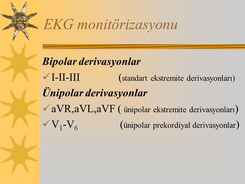 EKG monitörizasyonu Bipolar derivasyonlar I-II-III ( standart ekstremite derivasyonları) Ünipolar derivasyonlar aVR,aVL,aVF ( ünipolar ekstremite derivasyonları ) V 1 -V 6 ( ünipolar prekordiyal derivasyonlar )