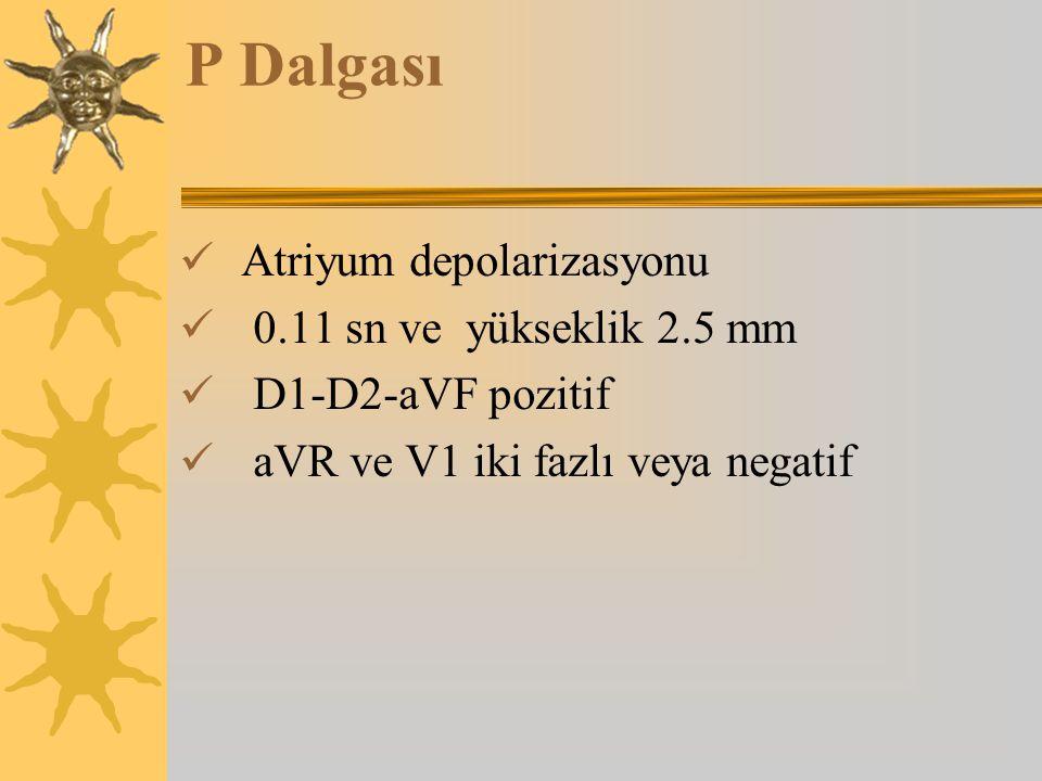 P Dalgası Atriyum depolarizasyonu 0.11 sn ve yükseklik 2.5 mm D1-D2-aVF pozitif aVR ve V1 iki fazlı veya negatif