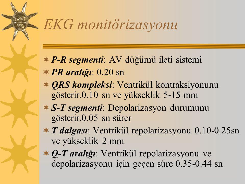 EKG monitörizasyonu  P-R segmenti: AV düğümü ileti sistemi  PR aralığı: 0.20 sn  QRS kompleksi: Ventrikül kontraksiyonunu gösterir.0.10 sn ve yükseklik 5-15 mm  S-T segmenti: Depolarizasyon durumunu gösterir.0.05 sn sürer  T dalgası: Ventrikül repolarizasyonu 0.10-0.25sn ve yükseklik 2 mm  Q-T aralığı: Ventrikül repolarizasyonu ve depolarizasyonu için geçen süre 0.35-0.44 sn
