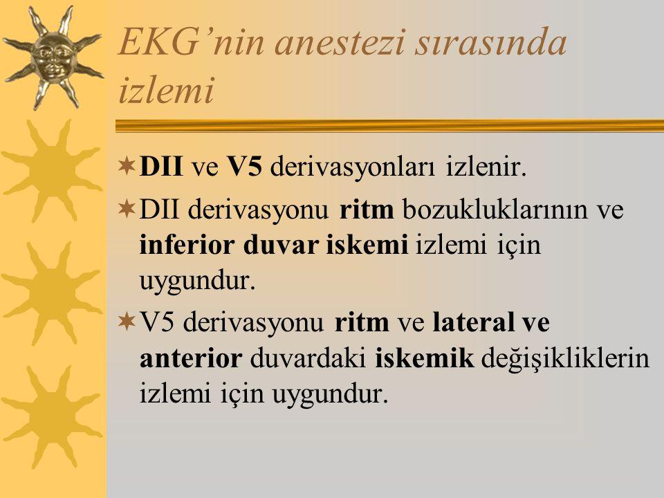 EKG'nin anestezi sırasında izlemi  DII ve V5 derivasyonları izlenir.