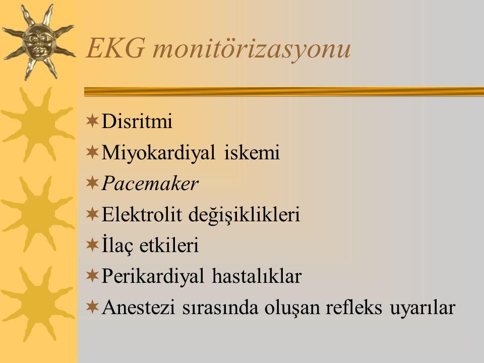 EKG monitörizasyonu  Disritmi  Miyokardiyal iskemi  Pacemaker  Elektrolit değişiklikleri  İlaç etkileri  Perikardiyal hastalıklar  Anestezi sırasında oluşan refleks uyarılar