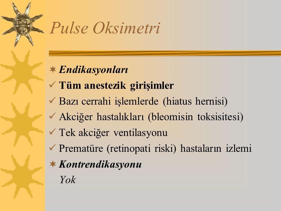 Pulse Oksimetri  Endikasyonları Tüm anestezik girişimler Bazı cerrahi işlemlerde (hiatus hernisi) Akciğer hastalıkları (bleomisin toksisitesi) Tek akciğer ventilasyonu Prematüre (retinopati riski) hastaların izlemi  Kontrendikasyonu Yok