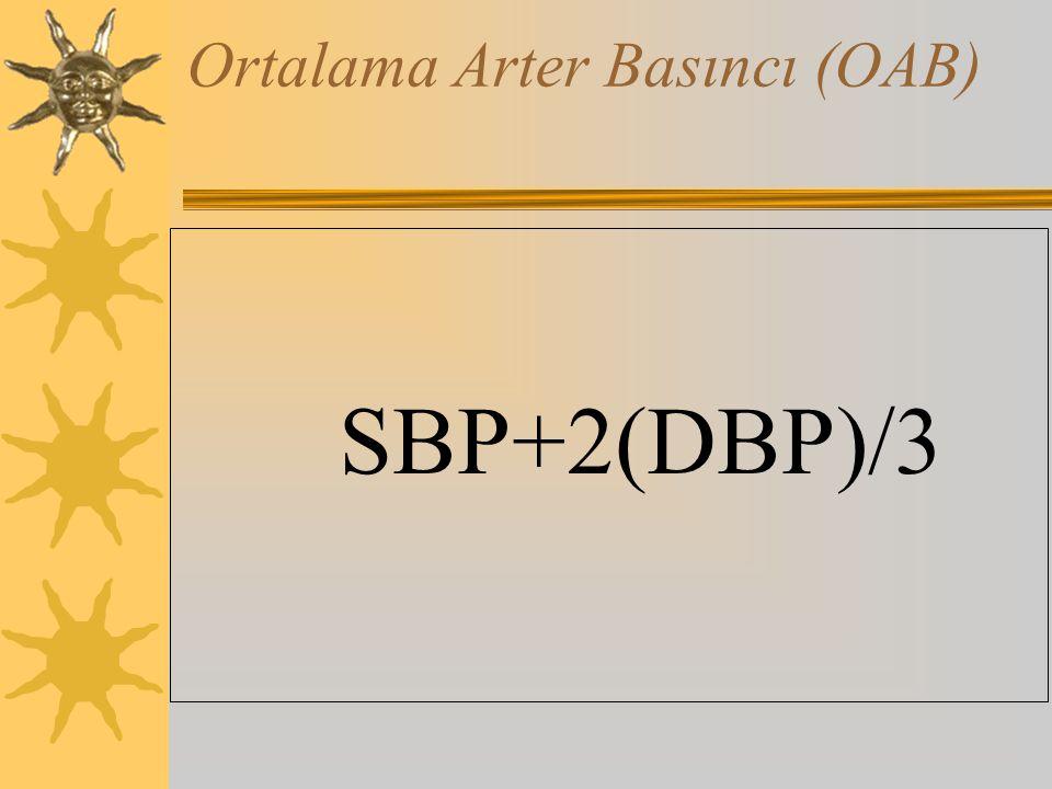 Ortalama Arter Basıncı (OAB) SBP+2(DBP)/3