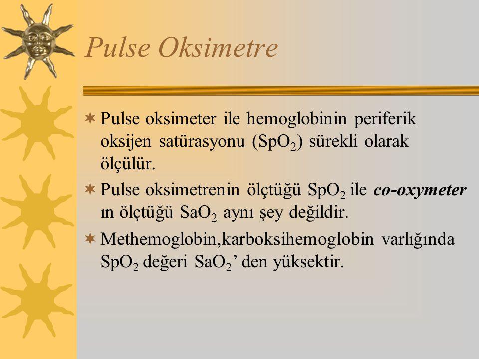 Pulse Oksimetre  Pulse oksimeter ile hemoglobinin periferik oksijen satürasyonu (SpO 2 ) sürekli olarak ölçülür.