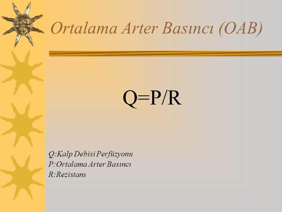Ortalama Arter Basıncı (OAB) Q=P/R Q:Kalp Debisi Perfüzyonu P:Ortalama Arter Basıncı R:Rezistans