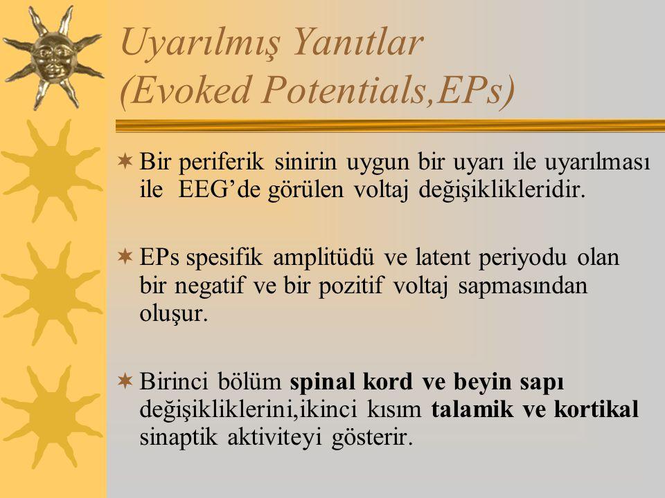 Uyarılmış Yanıtlar (Evoked Potentials,EPs)  Bir periferik sinirin uygun bir uyarı ile uyarılması ile EEG'de görülen voltaj değişiklikleridir.