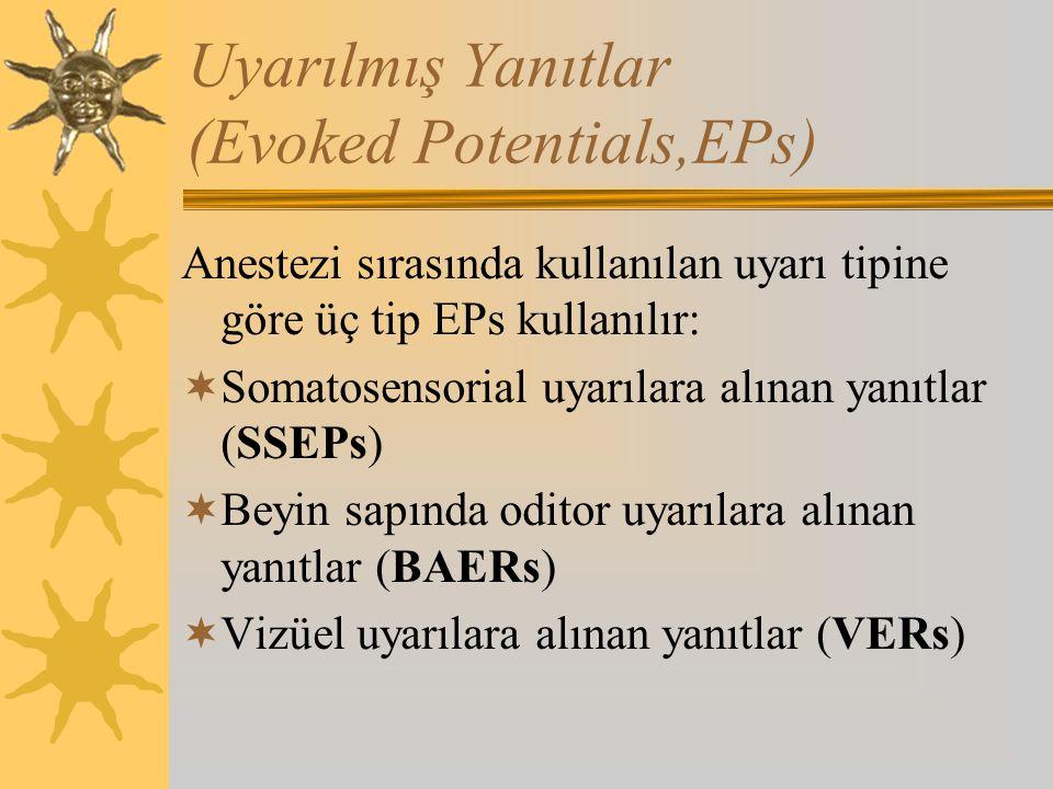 Uyarılmış Yanıtlar (Evoked Potentials,EPs) Anestezi sırasında kullanılan uyarı tipine göre üç tip EPs kullanılır:  Somatosensorial uyarılara alınan yanıtlar (SSEPs)  Beyin sapında oditor uyarılara alınan yanıtlar (BAERs)  Vizüel uyarılara alınan yanıtlar (VERs)