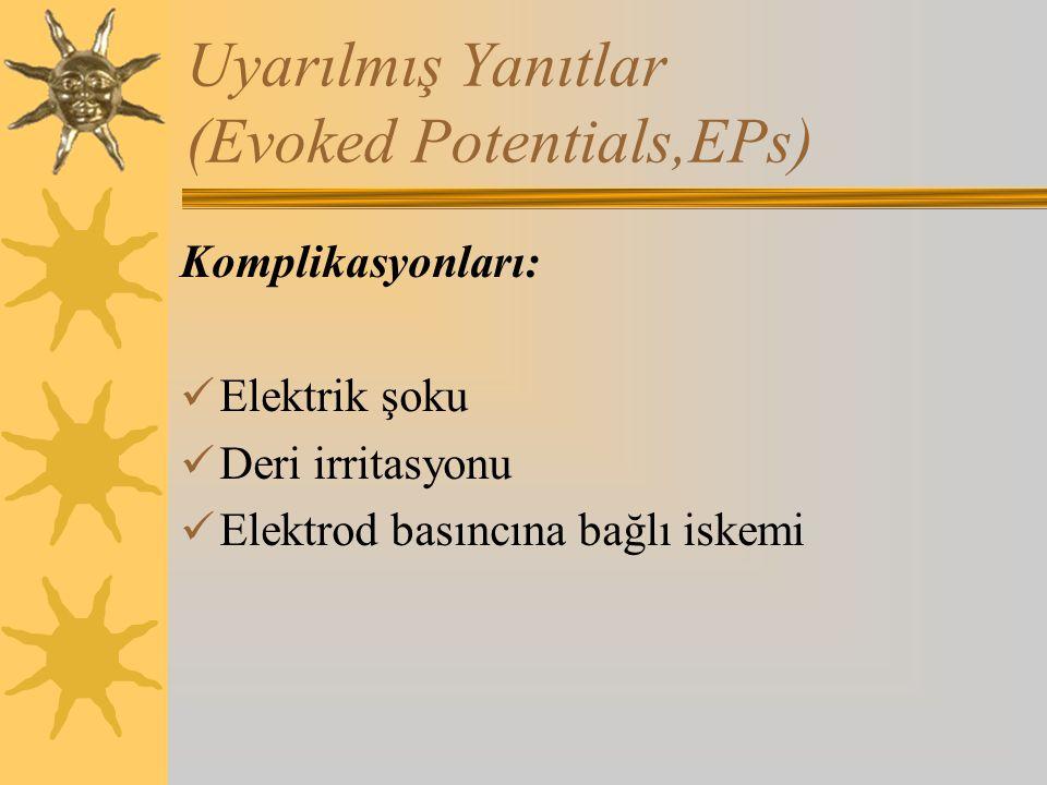 Uyarılmış Yanıtlar (Evoked Potentials,EPs) Komplikasyonları: Elektrik şoku Deri irritasyonu Elektrod basıncına bağlı iskemi