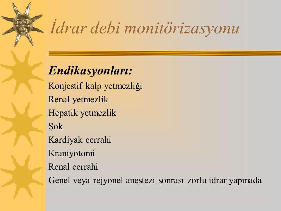 İdrar debi monitörizasyonu Endikasyonları: Konjestif kalp yetmezliği Renal yetmezlik Hepatik yetmezlik Şok Kardiyak cerrahi Kraniyotomi Renal cerrahi Genel veya rejyonel anestezi sonrası zorlu idrar yapmada
