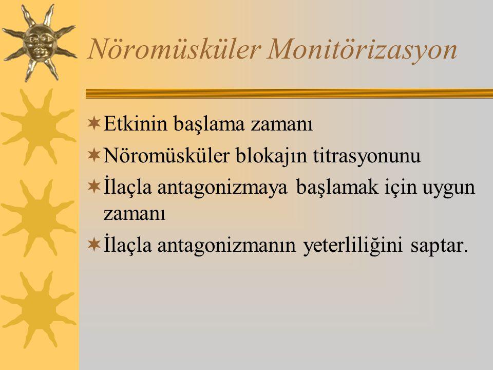 Nöromüsküler Monitörizasyon  Etkinin başlama zamanı  Nöromüsküler blokajın titrasyonunu  İlaçla antagonizmaya başlamak için uygun zamanı  İlaçla antagonizmanın yeterliliğini saptar.