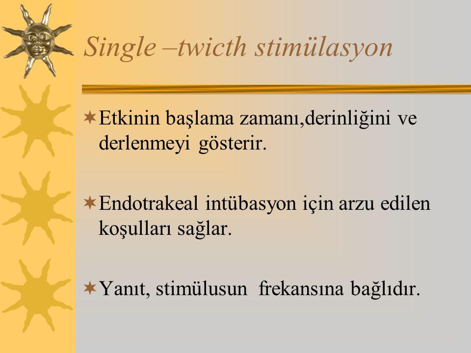 Single –twicth stimülasyon  Etkinin başlama zamanı,derinliğini ve derlenmeyi gösterir.