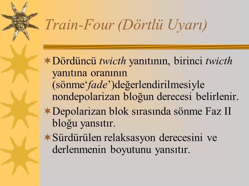 Train-Four (Dörtlü Uyarı)  Dördüncü twicth yanıtının, birinci twicth yanıtına oranının (sönme'fade')değerlendirilmesiyle nondepolarizan bloğun derecesi belirlenir.
