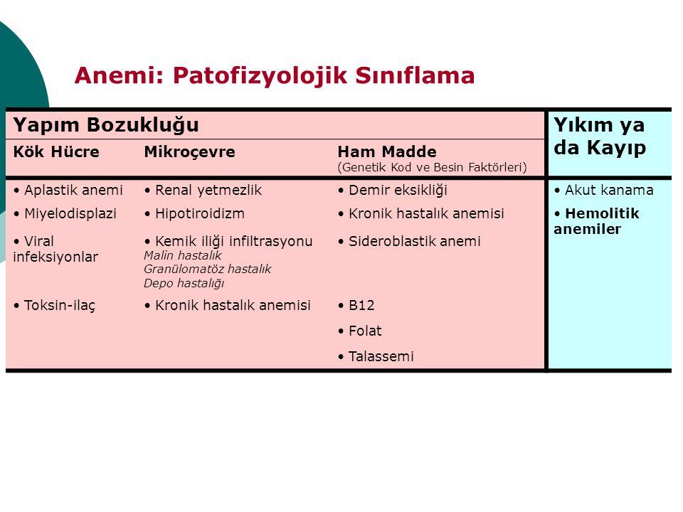 Anemi: Patofizyolojik Sınıflama Yapım BozukluğuYıkım ya da Kayıp Kök HücreMikroçevreHam Madde (Genetik Kod ve Besin Faktörleri) Aplastik anemi Renal y