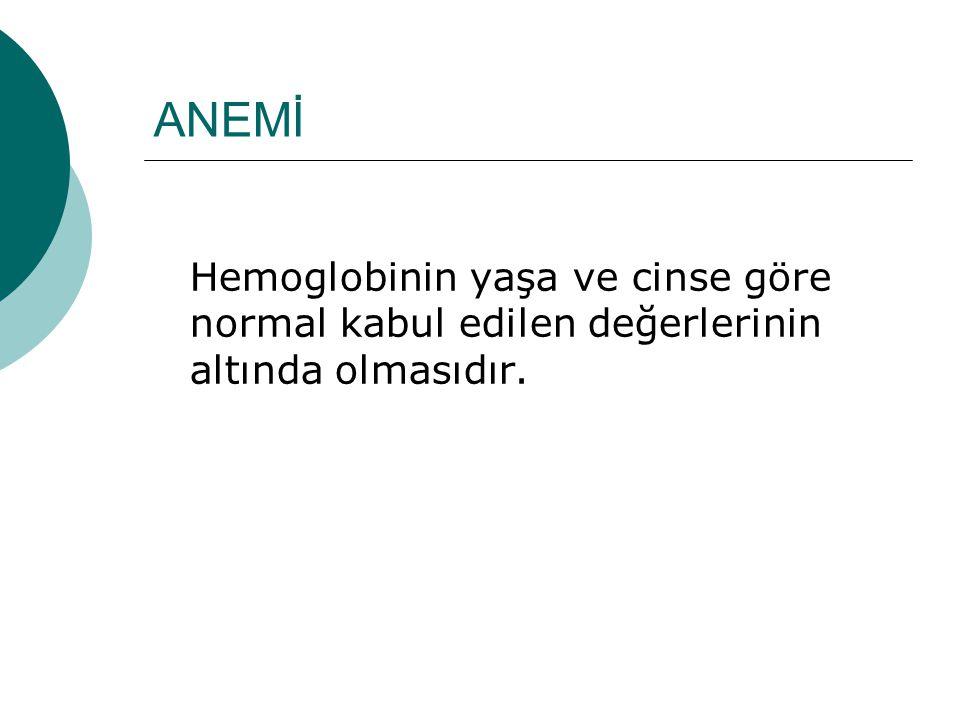 ANEMİ Hemoglobinin yaşa ve cinse göre normal kabul edilen değerlerinin altında olmasıdır.