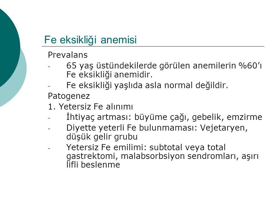 Fe eksikliği anemisi Prevalans - 65 yaş üstündekilerde görülen anemilerin %60'ı Fe eksikliği anemidir. - Fe eksikliği yaşlıda asla normal değildir. Pa