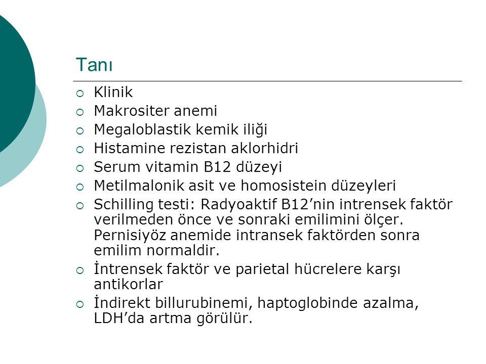 Tanı  Klinik  Makrositer anemi  Megaloblastik kemik iliği  Histamine rezistan aklorhidri  Serum vitamin B12 düzeyi  Metilmalonik asit ve homosis