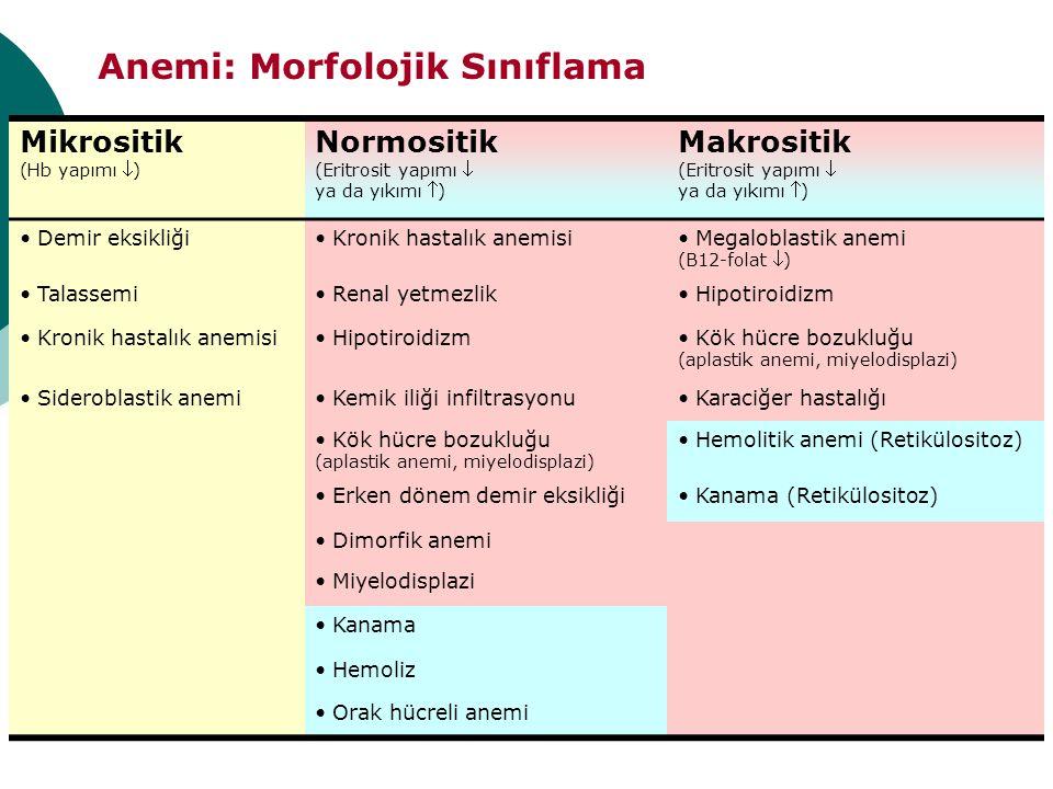 Anemi: Morfolojik Sınıflama Mikrositik (Hb yapımı ) Normositik (Eritrosit yapımı  ya da yıkımı ) Makrositik (Eritrosit yapımı  ya da yıkımı ) Dem