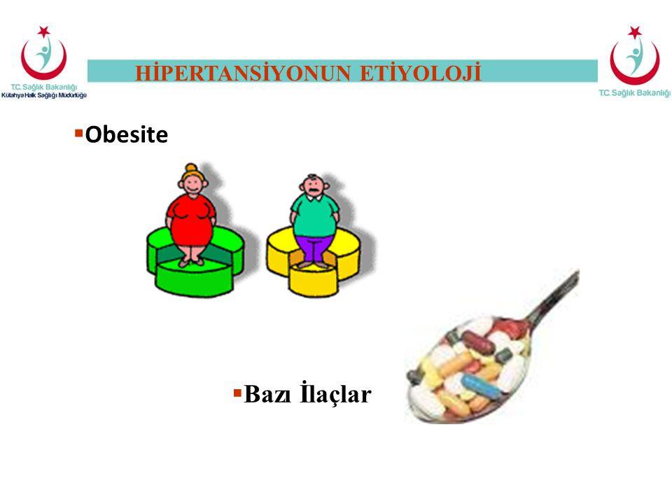  Obesite  Bazı İlaçlar HİPERTANSİYONUN ETİYOLOJİ