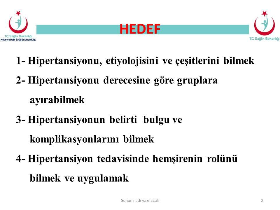 HEDEF Sunum adı yazılacak2 1- Hipertansiyonu, etiyolojisini ve çeşitlerini bilmek 2- Hipertansiyonu derecesine göre gruplara ayırabilmek 3- Hipertansi